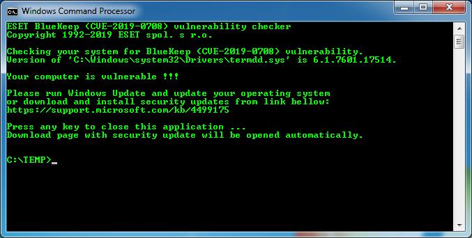 Бесплатное решение ESET для обнаружения BlueKeep доступно для скачивания.