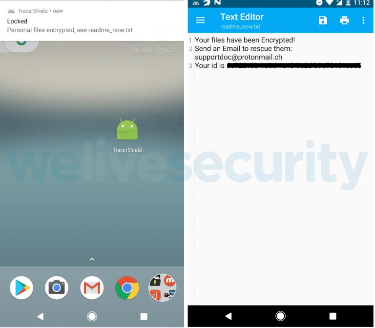 Нова програма-вимагач шифрує файли на мобільному пристрої. ESET.