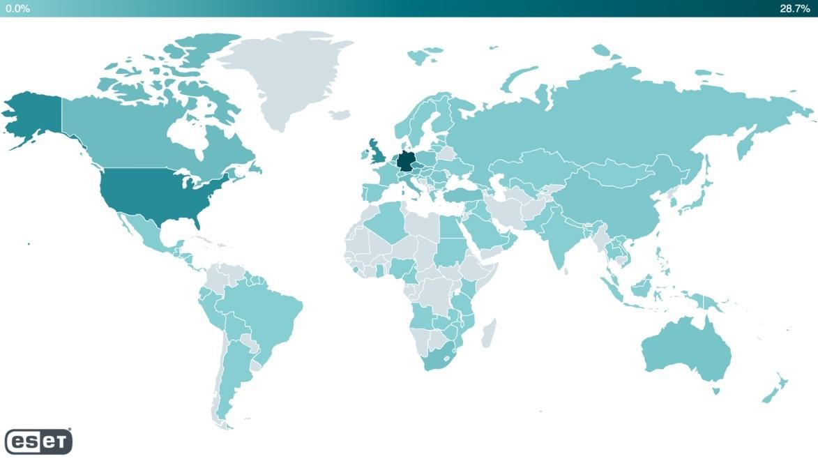 Наличие веб-шеллов по всему миру с 28 февраля по 9 марта 2021 года – телеметрия ESET.